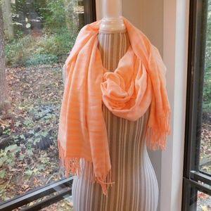 Gap striped blanket scarf, pink peach cozy warm